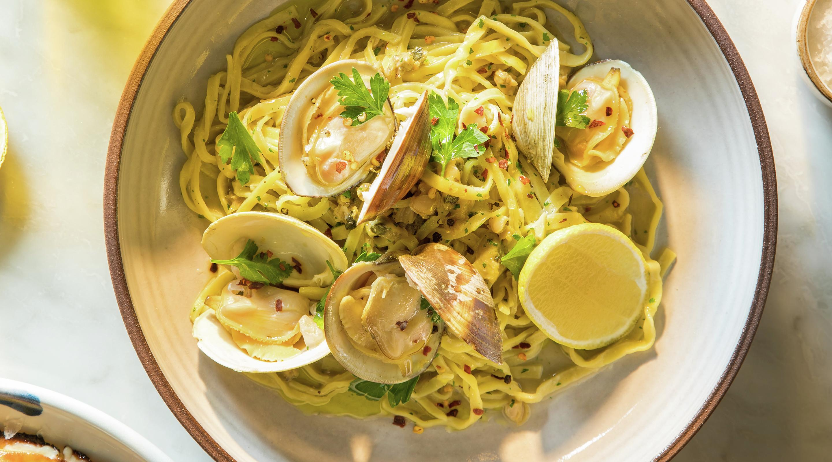A linguine and clams dish at Osteria Costa in the Mirage.